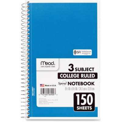 ACCO Mead 3-Subject Wirebound College Rule Notebook (06900)