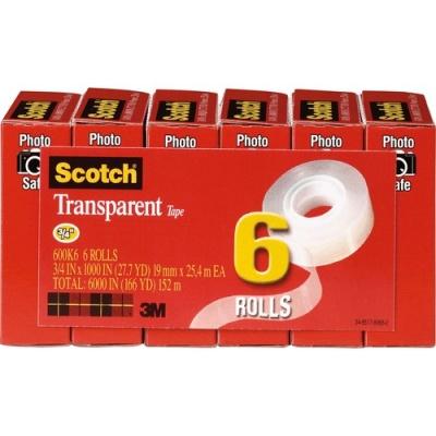 "3M Scotch Transparent Tape, 3/4"" x 1000"" (600K6)"