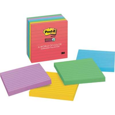 3M Post-it Super Sticky Notes, 4 in x 4 in, Marrakesh Color Collection, Lined (675-6SSAN)