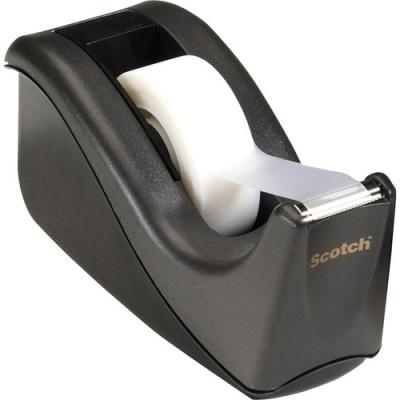 "3M Scotch Desktop Office Tape Dispenser, Two-Tone Black/Black, 1"" Core (C60-BK)"