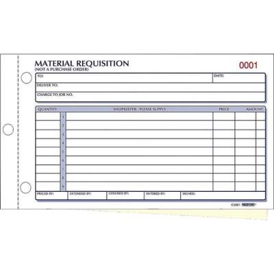 Dominion Blueline Rediform Material Requisition Purchasing Forms (1L114)
