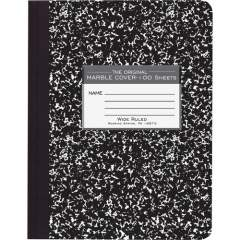 """Roaring Spring Wide Ruled Hard Cover Composition Book, 9.75"""" x 7.5"""" 100 Sheets, Black Marble Cover (77230)"""