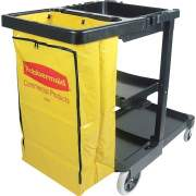 Rubbermaid Commercial Janitor Cart With Zipper Yellow Vinyl Bag (617388)