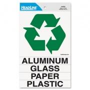 Headline Self-Stick Recycled Combo Decal, Paper/Plastic/Glass/Aluminum, 5.25 x 6 - 0.88 x 6, White/Green, Kit (4459)