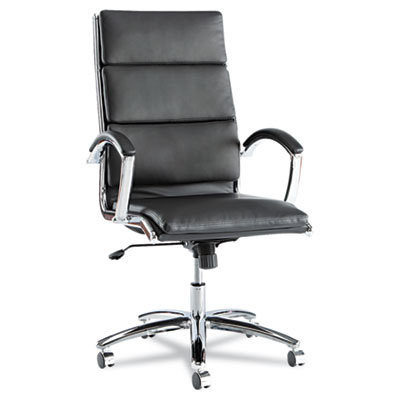 Alera Neratoli High-Back Slim Profile Chair, Supports up to 275 lbs., Black Seat/Black Back, Chrome Base (ALENR4119)