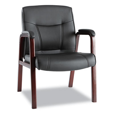 Alera Madaris Series Leather Guest Chair with Wood Trim Legs, 24.88