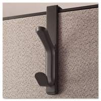Universal Recycled Cubicle Double Coat Hook, Plastic, Charcoal (UNV08607)