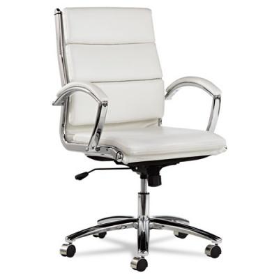 Alera Neratoli Mid-Back Slim Profile Chair, Supports up to 275 lbs., White Seat/White Back, Chrome Base (ALENR4206)