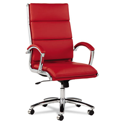 Alera Neratoli High-Back Slim Profile Chair, Supports up to 275 lbs., Red Seat/Red Back, Chrome Base (ALENR4139)