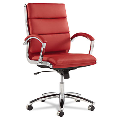Alera Neratoli Mid-Back Slim Profile Chair, Supports up to 275 lbs., Red Seat/Red Back, Chrome Base (ALENR4239)