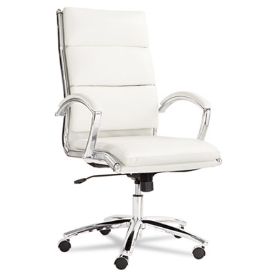 Alera Neratoli High-Back Slim Profile Chair, Supports up to 275 lbs., White Seat/White Back, Chrome Base (ALENR4106)