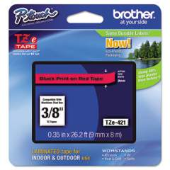 """Brother TZe Standard Adhesive Laminated Labeling Tape, 0.35"""" x 26.2 ft, Black on Red (TZE421)"""