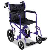 Medline Excel Deluxe Aluminum Transport Wheelchair, 19w x 16d, 300 lb Capacity (MDS808210ABE)