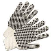 Anchor Brand PVC-Dotted String Knit Gloves, Natural White/Black, Large, 12 Pairs (6705)