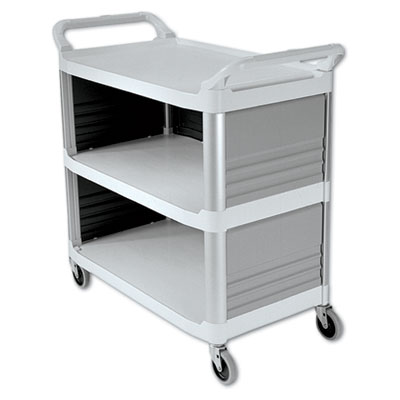 Rubbermaid Commercial Xtra Utility Cart, 300-lb Capacity, Three-Shelf, 20w x 40.63d x 37.8h, Off-White (FG409300OWHT)