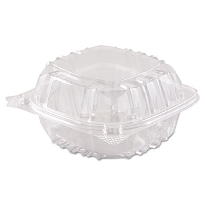 Dart ClearSeal Hinged-Lid Plastic Containers, 6 x 5 4/5 x 3, Clear, 500/Carton (C57PST1)