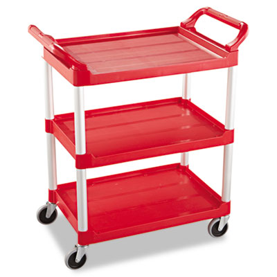 Rubbermaid Commercial Service Cart, 200-lb Capacity, Three-Shelf, 18.63w x 33.63d x 37.75h, Red (FG342488RED)