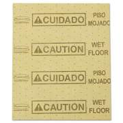 """Rubbermaid Commercial Over-the-Spill Pad, """"Caution Wet Floor"""", Yellow, 16 1/2"""" x 20"""", 22 Sheets/Pad (FG425200YEL)"""