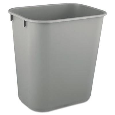 Rubbermaid Commercial Deskside Plastic Wastebasket, Rectangular, 3.5 gal, Gray (FG295500GRAY)