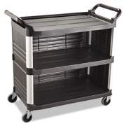 Rubbermaid Commercial Xtra Utility Cart, 300-lb Capacity, Three-Shelf, 20w x 40.63d x 37.8h, Black (4093BLA)