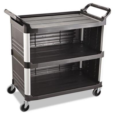 Rubbermaid Commercial Xtra Utility Cart, 300-lb Capacity, Three-Shelf, 20w x 40.63d x 37.8h, Black (FG409300BLA)