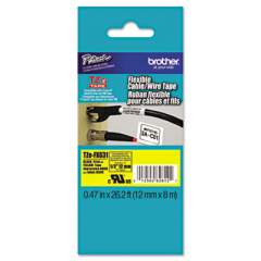 """Brother TZe Flexible Tape Cartridge for P-Touch Labelers, 0.47"""" x 26.2 ft, Black on Yellow (TZEFX631)"""