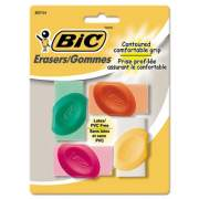 BIC Eraser with Grip, For Pencil Marks, Oval Block, Medium, Assorted Colors, 4/Pack (ERSGP41AST)