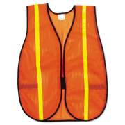 MCR Safety Polyester Mesh Safety Vest, 3/4 in., Lime Green Stripe, One Size Fits All (V211R)