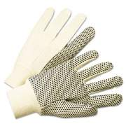 Anchor Brand 1000 Series PVC Dotted Canvas Gloves, White/Black, Large, 12 Pairs (1005)