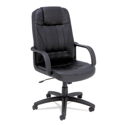 Alera Sparis Executive High-Back Swivel/Tilt Leather Chair, Supports up to 275 lbs., Black Seat/Black Back, Black Base (ALESP41LS10B)