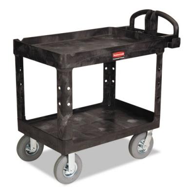 Rubbermaid Commercial Heavy-Duty Utility Cart, Two-Shelf, 25.88w x 45.25d x 37.13h, Black (FG452010BLA)