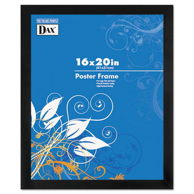 DAX Black Solid Wood Poster Frames w/Plastic Window, Wide Profile, 16 x 20 (2863V2X)