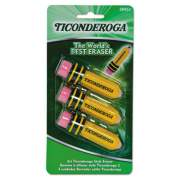 Ticonderoga Pencil-Shaped Eraser, Small, Yellow/Green/Red, Latex-Free Polymer, 3/Pack (38953)
