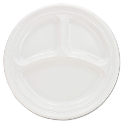 Dart Plastic Plates, 9 Inches, White, 3 Compartments, Round, 125/Pack (9CPWF)