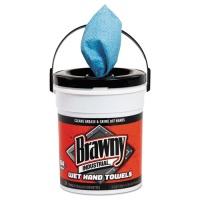 "Brawny Wet Hand Towels, 12 1/5"" x 8 3/5"", 1-Ply, Blue, 84/Pail, 6/Carton (21501)"