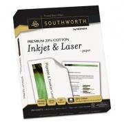 Southworth Premium 25% Cotton Paper, 97 Bright, 24 lb, 8.5 x 11, Wicked White, 250/Pack (J344C)