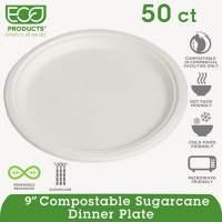 """Eco-Products Renewable/Compostable Sugarcane Plates Convenience Pack, 9"""", 50/PK, 10 PK/CT (EP-P013PK)"""