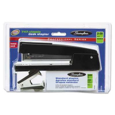 Swingline 747 Classic Stapler Plus Pack with Staple Remover and Staples, 20-Sheet Capacity, Black (S7074793F)