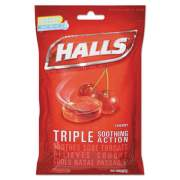 HALLS Triple Action Cough Drops, Cherry, 30/Bag, 12 Bags/Box (27499)