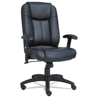 Alera CC Series Executive High-Back Swivel/Tilt Leather Chair, Supports up to 275 lbs., Black Seat/Black Back, Black Base (ALECC4119)