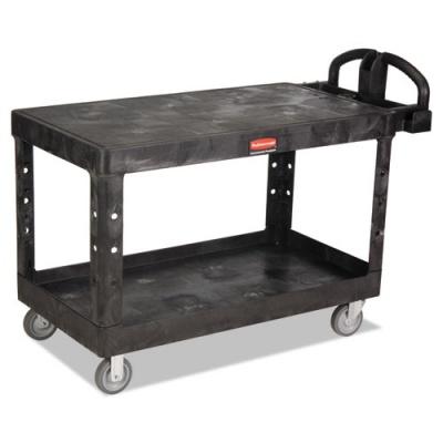 Rubbermaid Commercial Heavy-Duty 2-Shelf Utility Cart, TPR Casters, 25.25w x 54d x 36h, Black (FG454500BLA)
