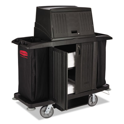 Rubbermaid Commercial Full Size Housekeeping Cart with Doors, 22w x 60d x 67.5h, Black (FG9T1900BLA)