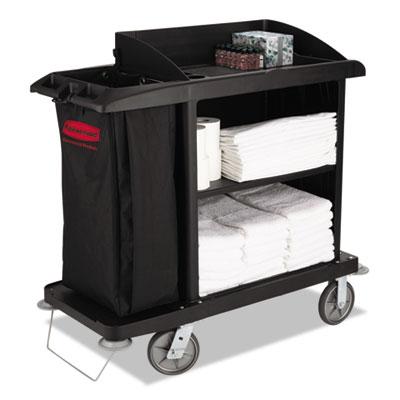 Rubbermaid Commercial Multi-Shelf Cleaning Cart, Three-Shelf, 22w x 49d x 50h, Black (FG619000BLA)