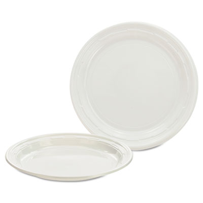 Dart Plastic Plates, 7 Inches, White, Round, 125/Pack, 8 Packs/Carton (7PWF)