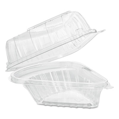 Dart Showtime Clear Hinged Containers, Pie Wedge, 6 2/3 oz, Plastic, 125/PK, 2 PK/CT (C54HT1)