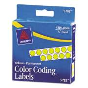 """Avery Handwrite-Only Self-Adhesive Removable Round Color-Coding Labels in Dispensers, 0.25"""" dia., Yellow, 450/Roll, (5792) (05792)"""