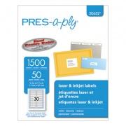 PRES-a-ply Labels, 0.66 x 3.44, White, 30/Sheet, 50 Sheets/Box (30632)
