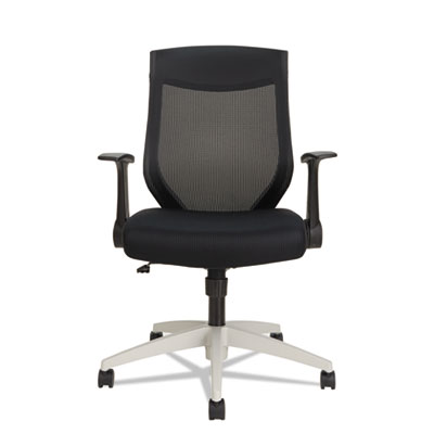 Alera EB-K Series Synchro Mid-Back Flip Arm Mesh-Chair, Supports up to 275 lbs., Black Seat/Black Back, Cool Gray Base (ALEEBK4207)
