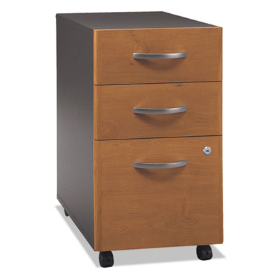 Bush Series C Collection 3 Drawer Mobile Pedestal (Assembled), 15.75w x 20.25d x 27.88h, Natural Cherry (WC72453SU)
