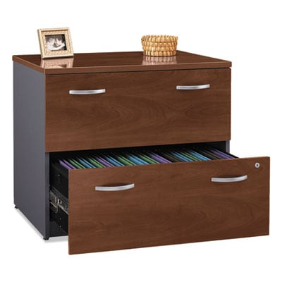 Bush Series C Collection 2 Drawer 36W Lateral File (Assembled), 35.75w x 23.38d x 29.88h, Hansen Cherry (WC24454CSU)